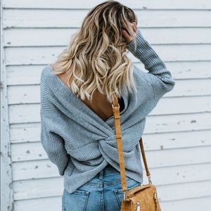 Sweaters - Baby Blue Twisted Knit Sweater